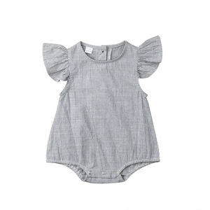 Newborn Baby Girls flying sleeve Cotton Striped Romper grey button Jumpsuit summer Outfit Clothes 0-18M