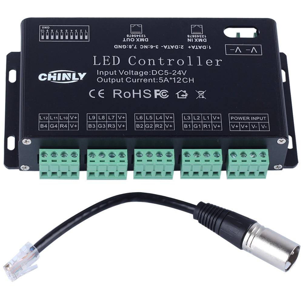 DC5V-24V 12 قنوات DMX 512 RGB LED قطاع تحكم DMX فك باهتة سائق استخدام لوحدة قطاع LED