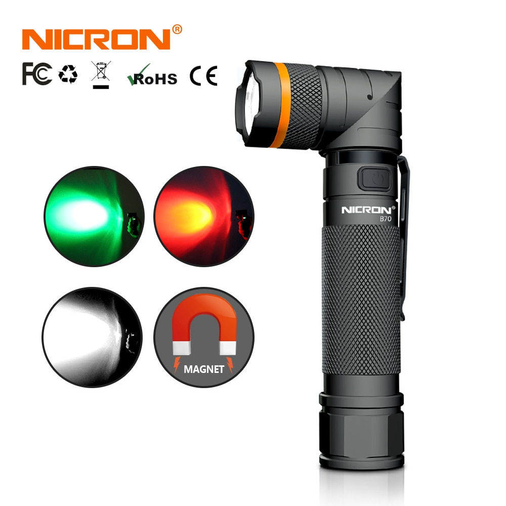 NICRON-مصباح يدوي LED مغناطيسي ، قابل لإعادة الشحن ، 90 درجة ، بدون استخدام اليدين ، 1200 لومن ، فائق السطوع ، مقاوم للماء ، مصباح زاوية مموه B70