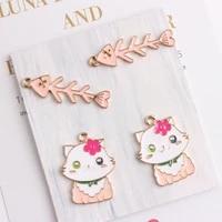 10pcs flower cat fish bone enamel charm diy fashion handmade jewelry making pendant for bracelet necklace keychains earrings