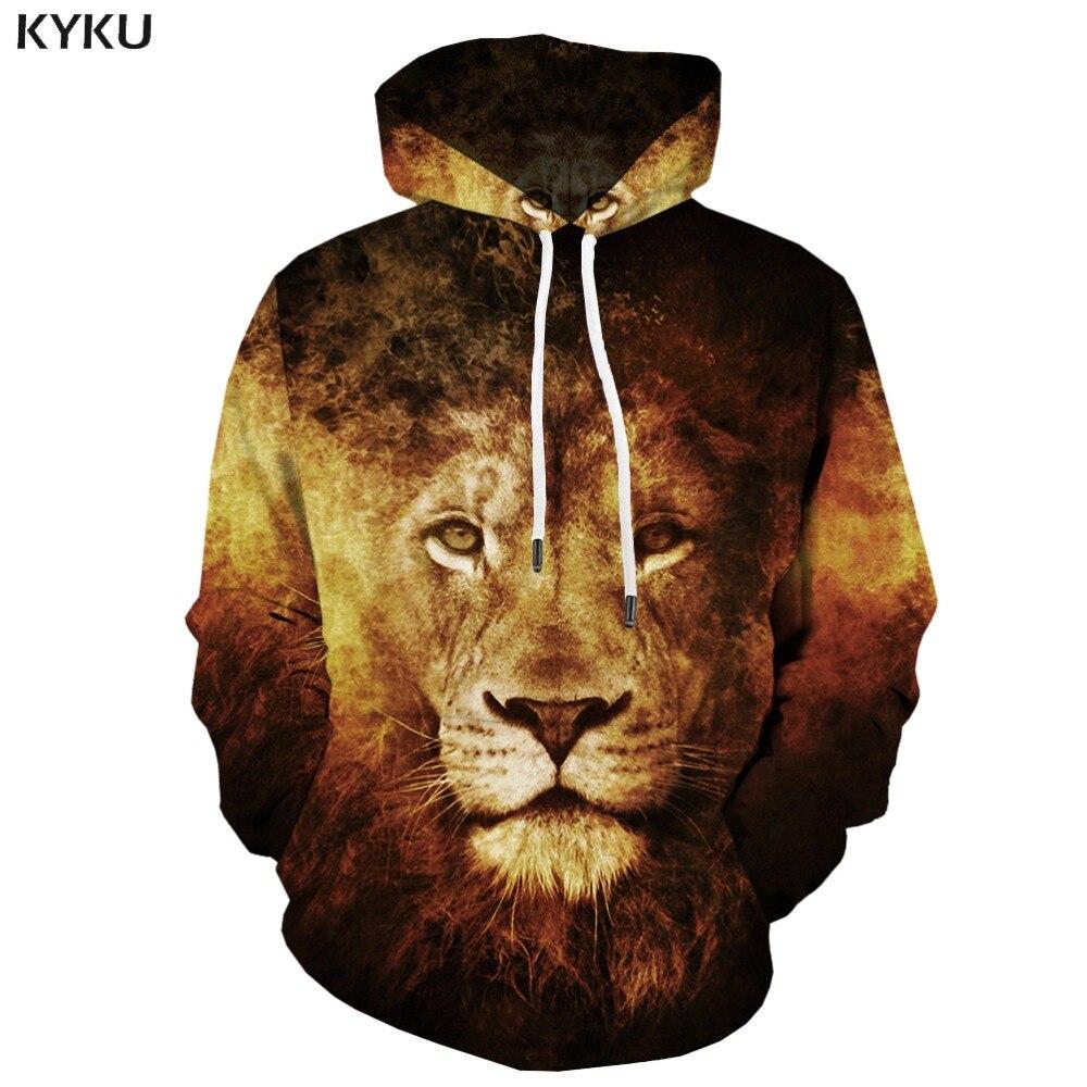 Marca KYKU, sudaderas de León para hombre, estampado 3d de llama, Casual gótica Sudadera con capucha, sudadera de arte con estampado de animales, sudadera de Hip Hop Unisex