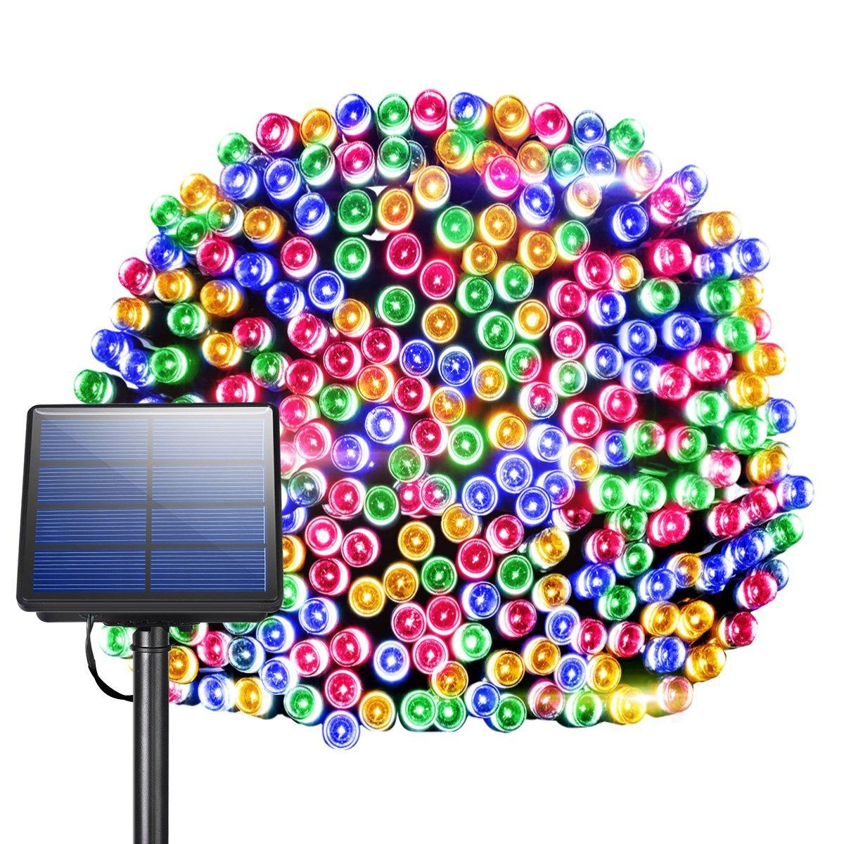 Tira de luces led solares, decoración de Navidad, luces de jardín, luces led intermitentes para exteriores, ocho lámparas de LUZ LED RGB