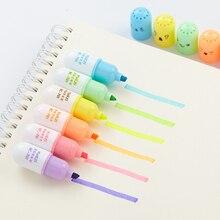 6 pcs/lot Cute Capsules Vitamin Pill Highlighter Cartoon Animal Drawing Painting Art Marker Pen School supplies Stationery gift