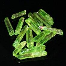 Kiwarm 50 г натуральное прозрачное титановое покрытие, зеленый кварцевые кристаллические точечные палочки, лечебные камни для дома, подарок, ремесло, украшение, Декор