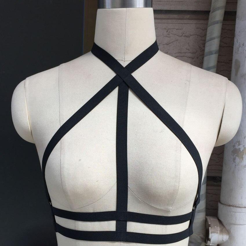Verano estilo arnés gótico cuerpo jaula sujetador Harajuku cinturón elástico arnés sexy Lencería adulta baile en barra cuerpo jaula arnés sujetador