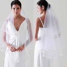 Velos de boda de tul Simple, accesorios de novia con borde de cinta de dos capas, VELO de novia de marfil blanco, VE02, venta al por mayor, 145