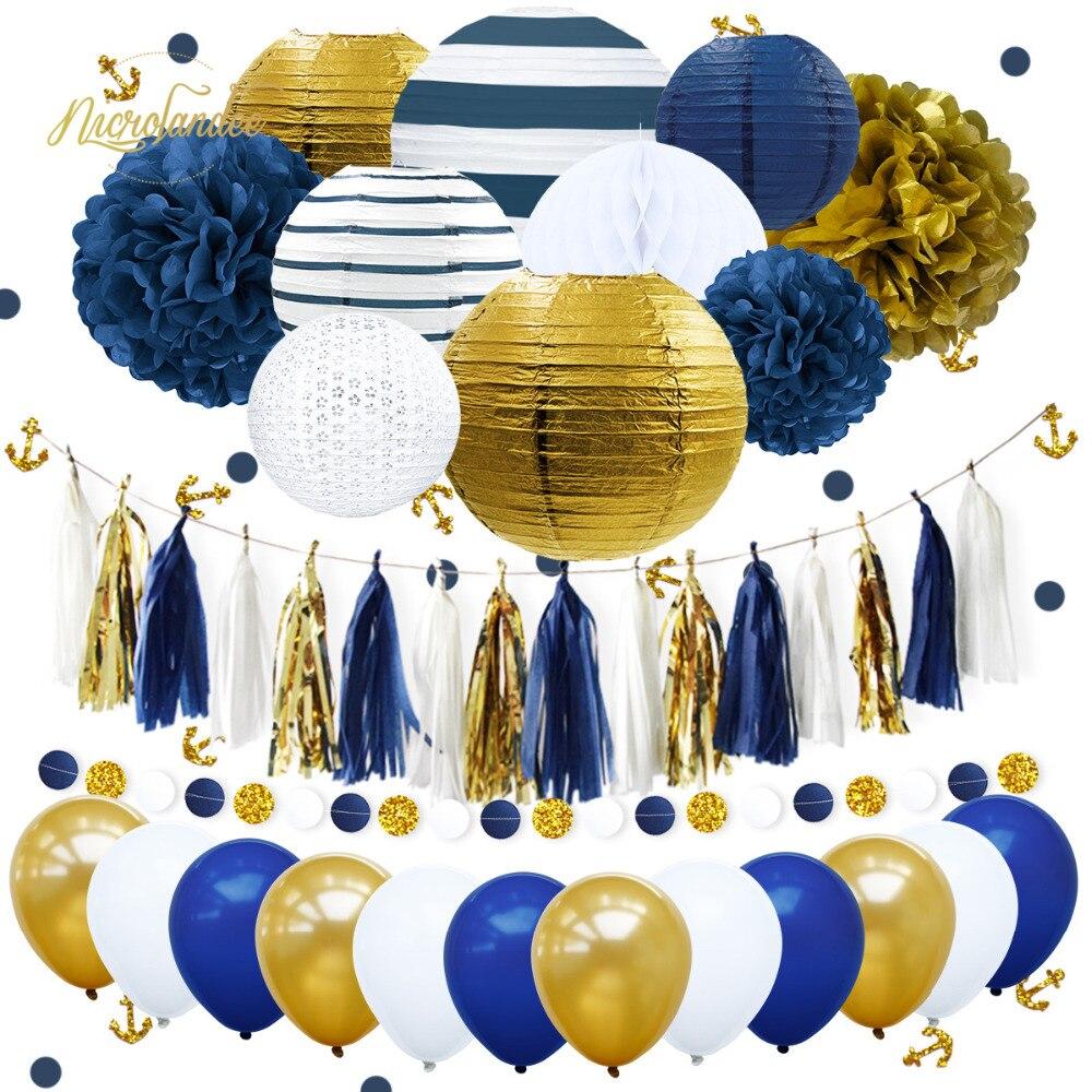 NICROLANDEE 38 sztuk/zestaw nowy granatowy kotwica szczęśliwy papier prezentowy kwiat pompon balony strona dekoracji DIY