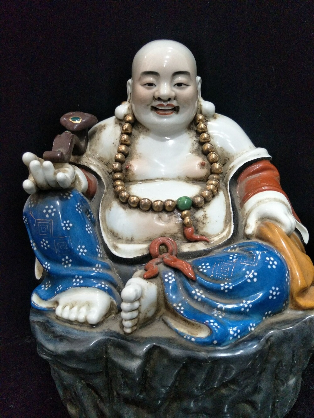 Antique QingDynasty porcelain statue,color Wishful buddha sculpture,painted crafts,Decoration,Collection&Adornment,Free shipping