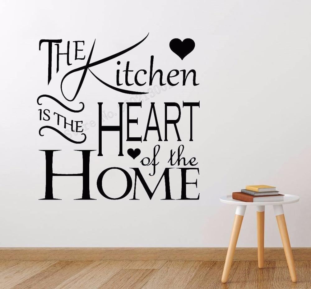 Художественная Наклейка на стену, украшение для кухни, виниловый художественный съемный постер с изображением сердца, домашняя Настенная Н...