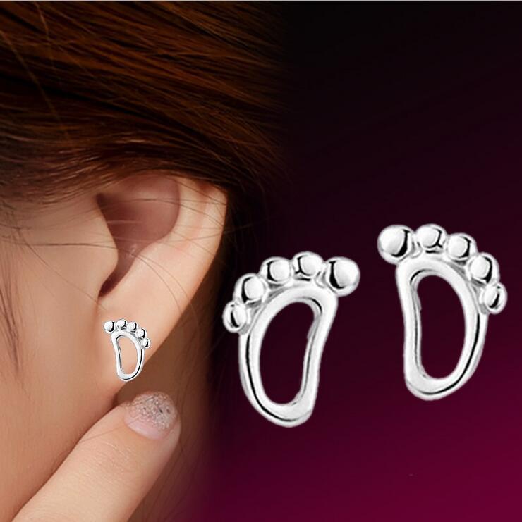 Promotion lovely little baby feet 925 sterling silver ladies`stud earrings jewelry drop shipping