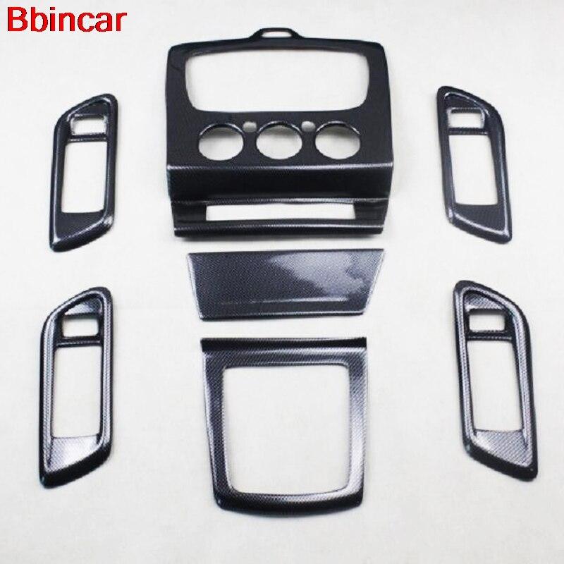 Bbincar 7 Uds ABS pintura con fibra de carbono manija de puerta interior consola cambio de marchas cubierta Trim MT sólo para Ford Focus 2009 2010 2011