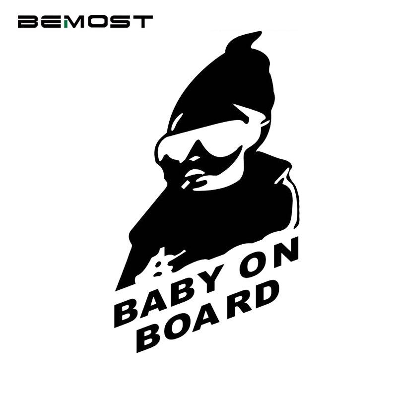 BEMOST, divertidas gafas de sol reflectantes traseras para bebé, calcomanías de advertencia para niños, estilo de coche, negro/blanco 9*14CM
