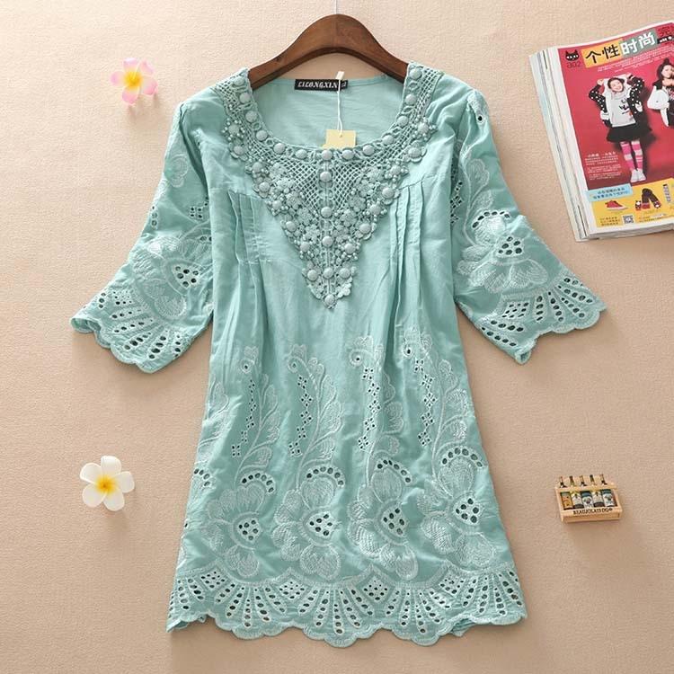 New 2019 Summer Style Half Sleeve Cottonwomen Blouese Clothes Plus Size Clothing Cute Casual Tops Blusas Feminina Vestidos