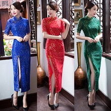 Mode vintage Shanghai story cheongsam style robe de soirée femmes sexy vestido, une pièce bleu, vert, rouge mince longue robe dété