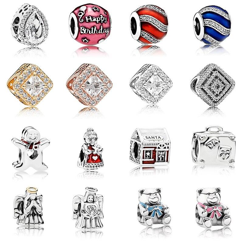 16 estilo de prata cor grânulos encantos moda avó bebê anjo contas de cristal para feminino original pandora charme pulseira
