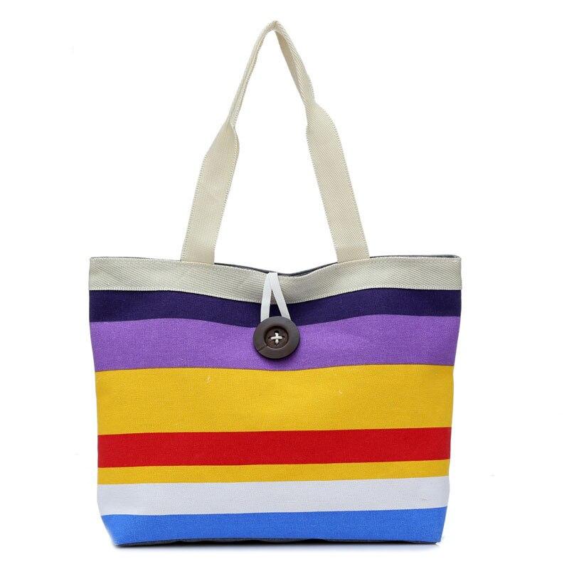 Bolsos de hombro de colores para mujer bolso de compras a rayas bolso de lona bolso de mano para mujer bolso ancho Casual de playa de gran capacidad