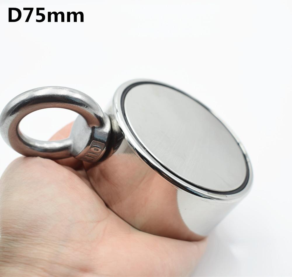 D75mm مغناطيس نيوديميوم سوبر قوية ثقب على الوجهين إنقاذ الصيد المغناطيس 300 كجم حلقة دائرية هوك حامل دائم الصلب