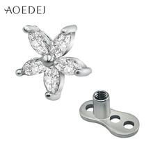 AOEDEJ fleur cristal strass ancre cutanée acier inoxydable titane Micro Piercing cutané hauts