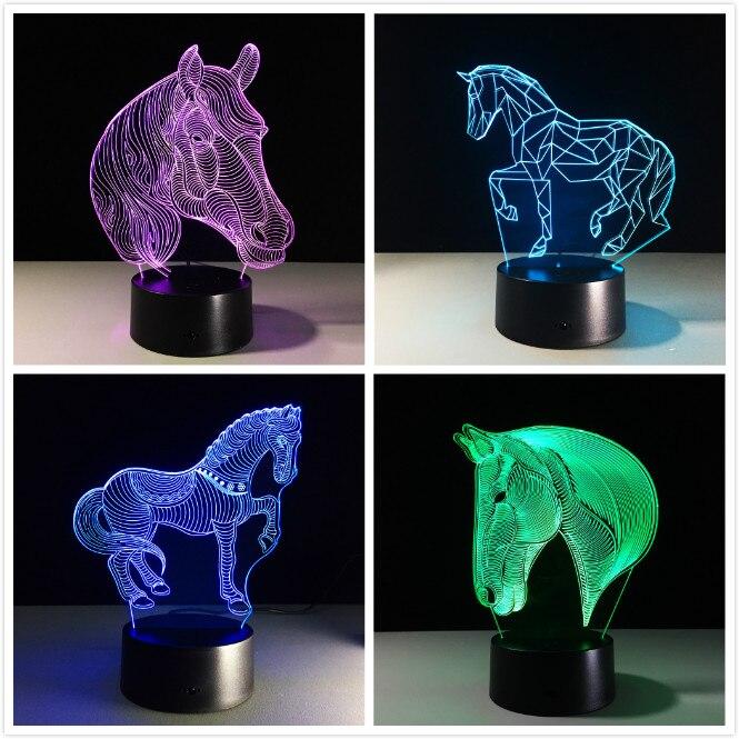 Лошадь 3D Led ночные светильники USB Новинка подарки 7 видов цветов Изменение животных LED Настольная лампа как украшение дома дешевые оптовые продажи