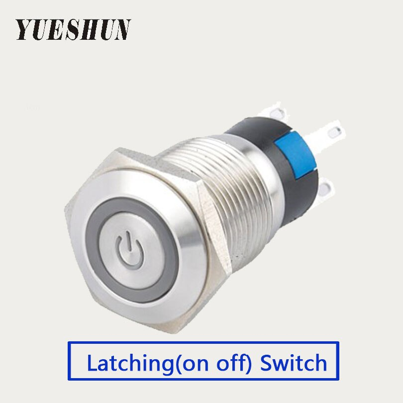 10 pieces 16mm LED Push Button Switch Home Electronic Accessories Stainless Steel Light Switch Latching Type Power Switches