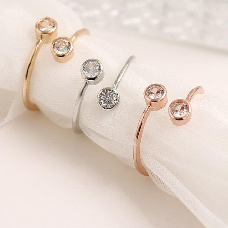 Doble cristal mujer joyería moda Simple abierto diseño anillo personalidad femenina anillos de flores anillos de boda para las mujeres