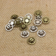 En gros 60 pcs/lot 15mm deux couleurs charme Antique alliage épais engrenage charme engrenage bijoux pendentif T0236