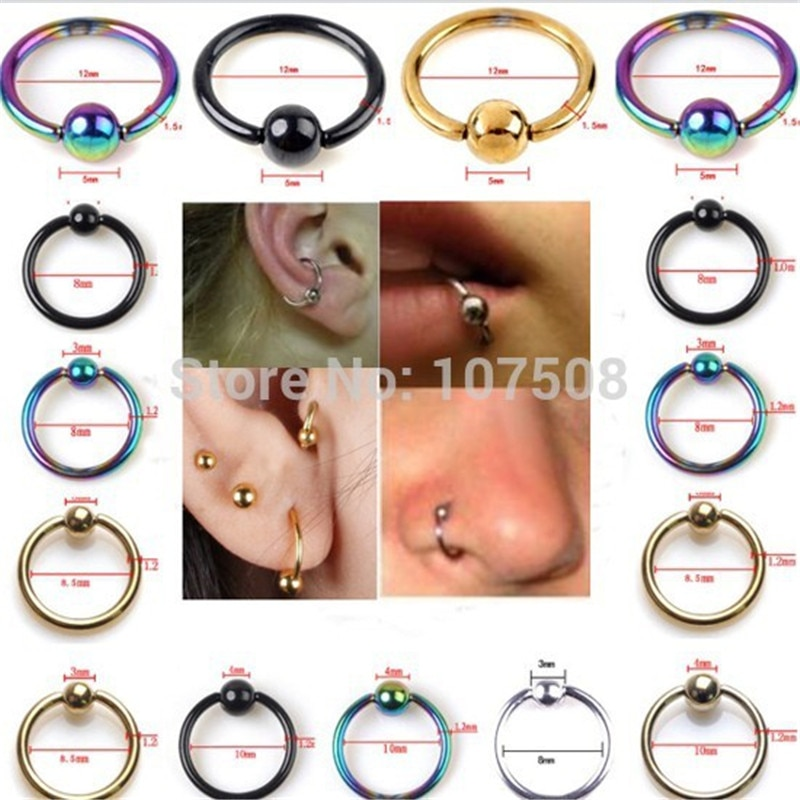 PINKSEE 10pcs Captive Bead Ring Ball Hoop Eyebrow Nipple Nose Lip Body Piercing Jewelry