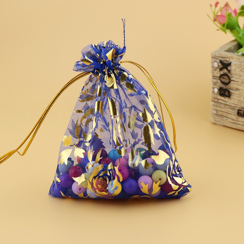 Bolsa de Organza azul real 20x30cm 500 unidades bolsas de Organza decoración de boda favor bolsa de regalo cosméticos embalaje con cordón bolsas