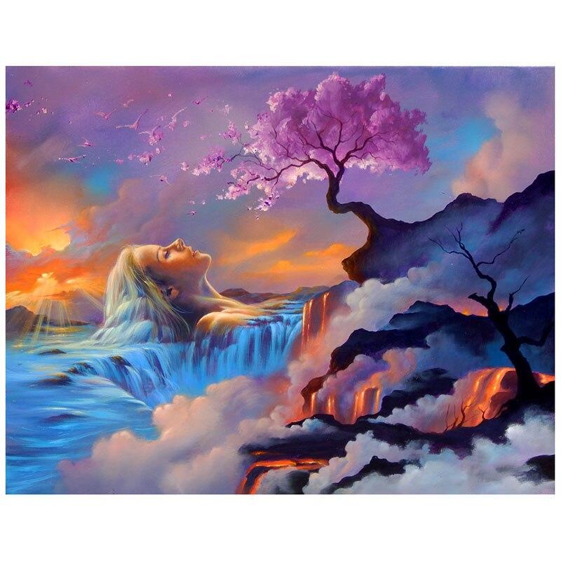 Pintura de diamante abstracta cascada mujer paisaje de árbol completo cuadrado/redondo 5d diy bordado de diamantes, pinturas de mosaico de diamantes de imitación