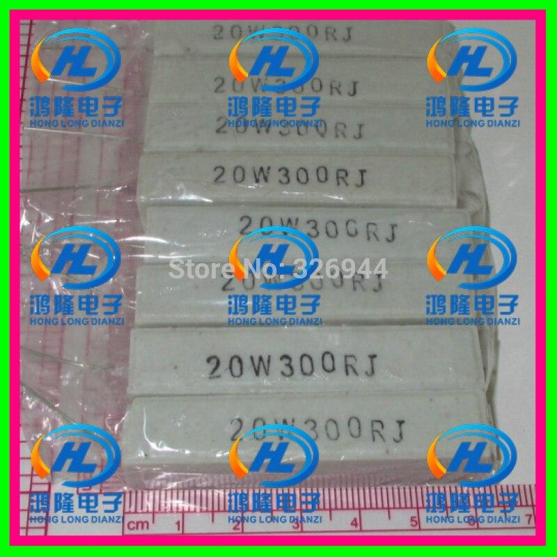 (10 unids/lote) 20 W 300 ohm +/-5% resistencia de cemento Horizontal/20 W 300R ohm 5% resistencia de cemento/ resistencia cerámica 20 W 300RJ