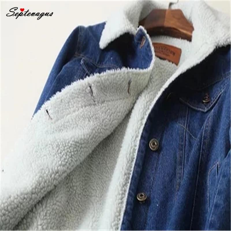Chaqueta vaquera de piel cálida para invierno, chaqueta Bomber para mujer, chaqueta vaquera azul, abrigo con Forro cálido y bolsillos planos con botón frontal