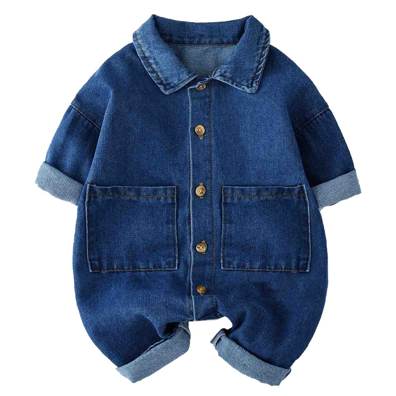 Pelele de algodón para niño recién nacido, mamelucos de manga larga de vaquero, mono Unisex para niñas pequeñas, ropa para bebés recién nacidos