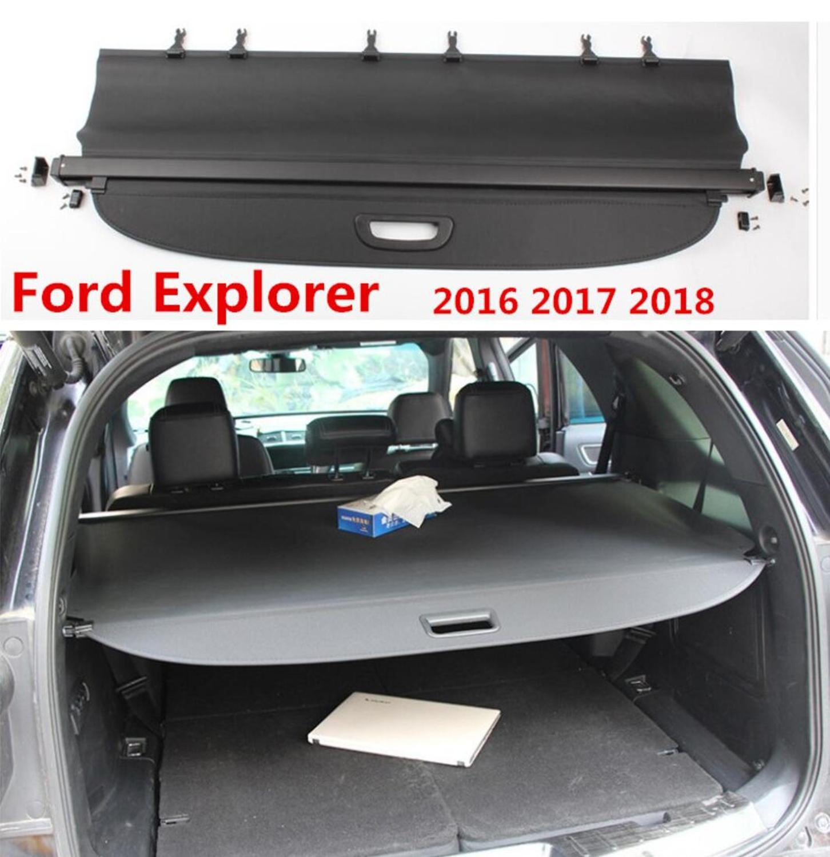 Aleación de aluminio + cubierta trasera de protección de seguridad de maletero de tela para Ford Explorer 2016 2017 2018 accesorios de coche