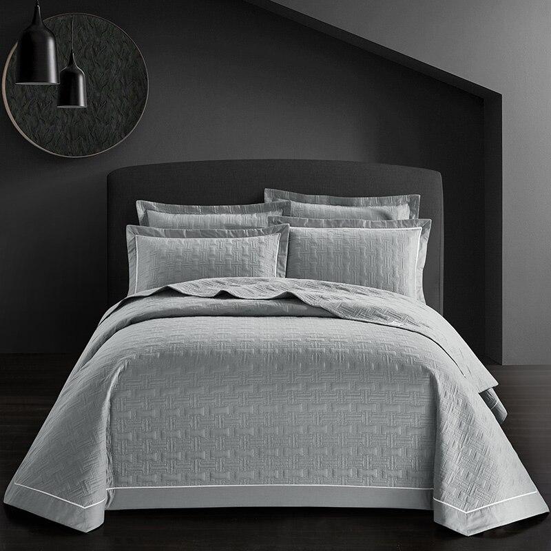 Neue 3Pcs Luxus Baumwolle Decke Bettdecke 245x250cm weiß, rosa, grau, blau Bett Bettlaken Kissenbezug