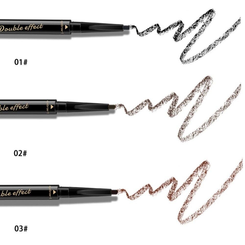 Lápiz de cejas 2 en 1 de doble extremo, delineador de ojos líquido, impermeable, resistente al sudor, resistente al sudor, lápiz de cejas, maquillaje de ojos