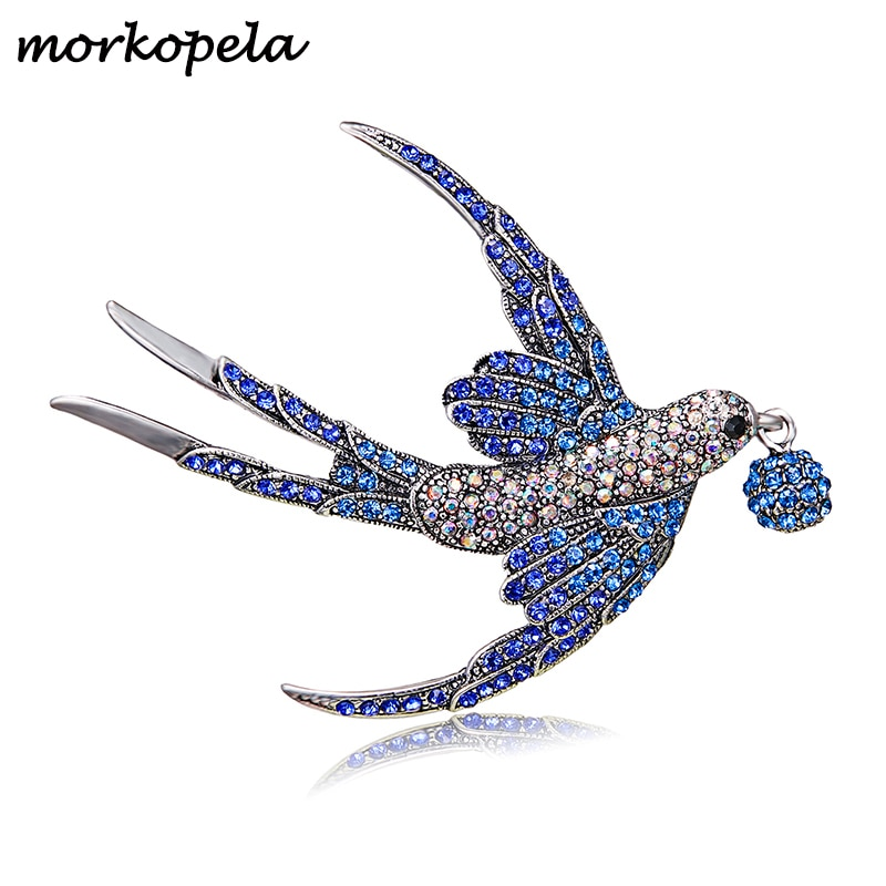 Morkopela andorinha pássaro strass broche bonito broche pinos de cristal colorido para feminino scarve buquê jóias