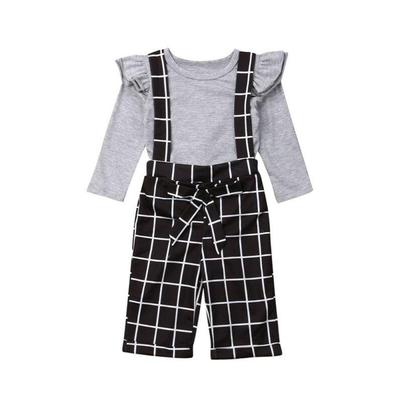 Casual Kids Baby Girl Autumn Clothes Sets Ruffles Long Sleeve Shirts Plaid Bibs Long Pants 2Pcs Child Girl Outfits 1-6Y