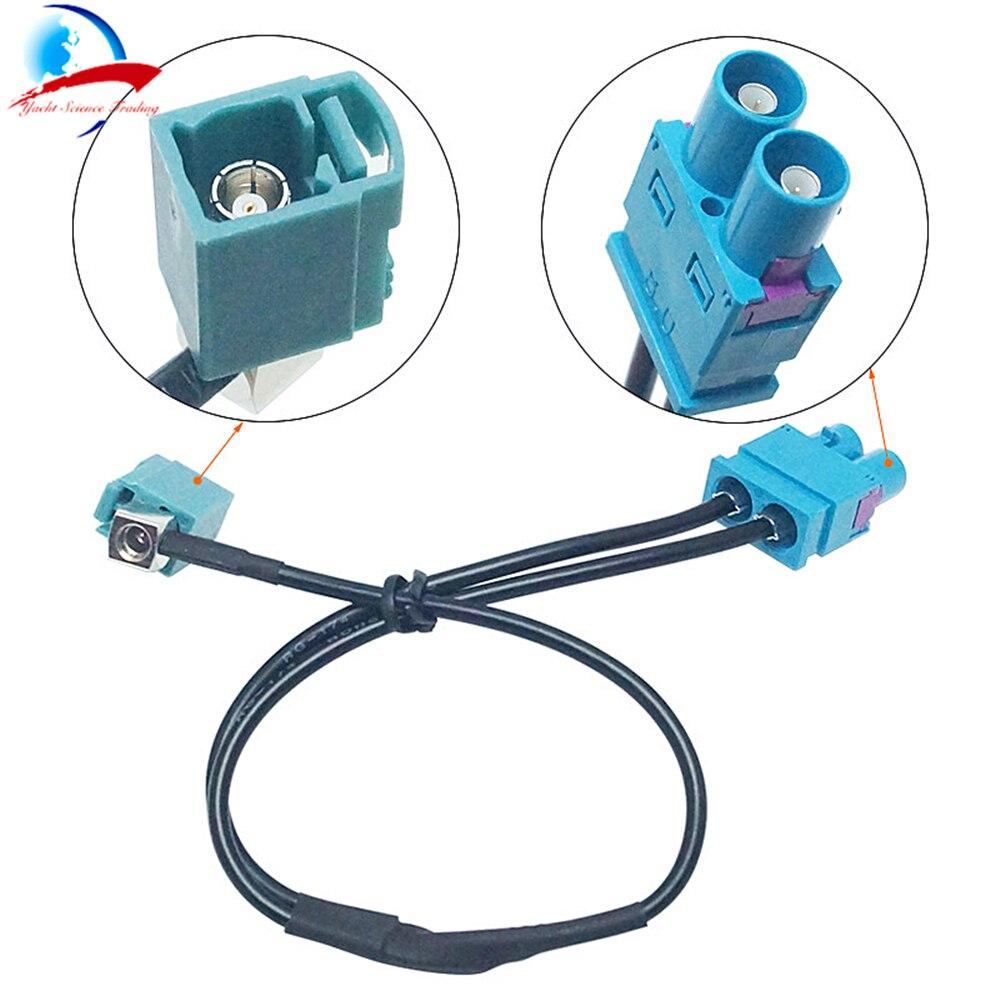Un Fakra hembra a doble Fakra Cable de conversión macho 2 Fakra a 1 Fakra adaptador de antena de Radio conector para VW AUDI SEAT SKODA