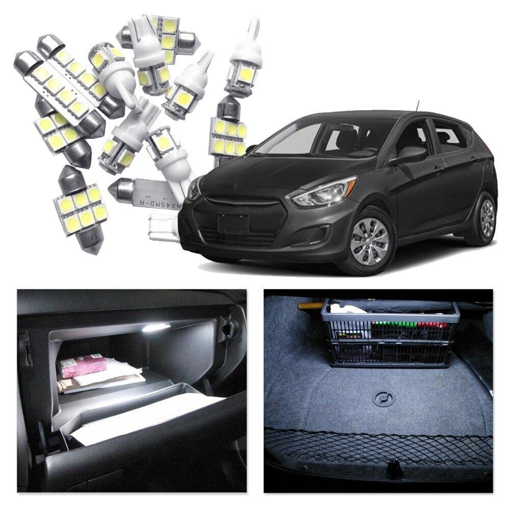 Bombillas LED blancas, rojas y azules para Hyundai Accent 2006-2011 T10 W5W, Kit de bombillas para coche Interior, luz de techo para maletero o matrícula
