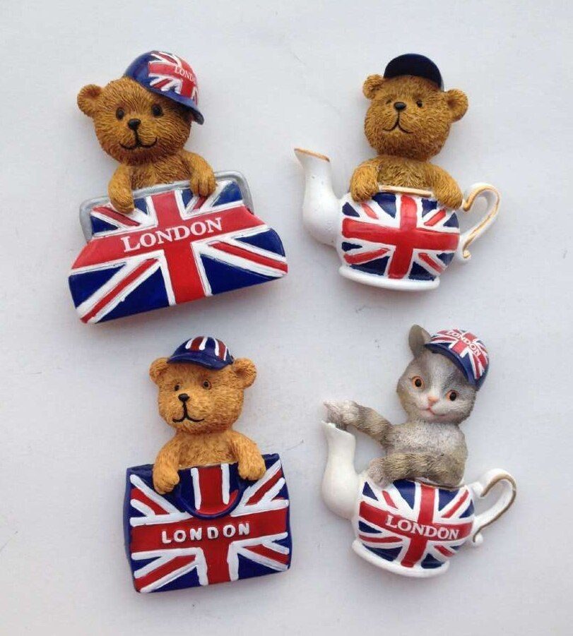 Britische Flagge London Handtasche Nette Teddybär 3D Kühlschrank Magneten Welt Tourismus Souvenirs Kühlschrank Magnetischen Aufkleber