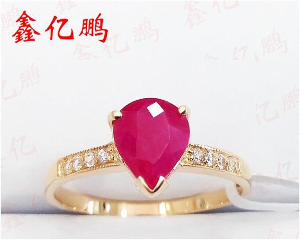 Xin yi peng 18 k embutidos de ouro amarelo 1.3 quilates natural ruby ring, a mulher do anel, um presente de aniversário