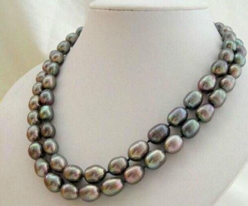 ENVÍO GRATIS shupping libre 08148 HEBRAS INDIVIDUALES de 12-13mm barroco collar de perlas TAHITIAN PAVO REAL VERDE CALIENTE de la venta CALIENTE