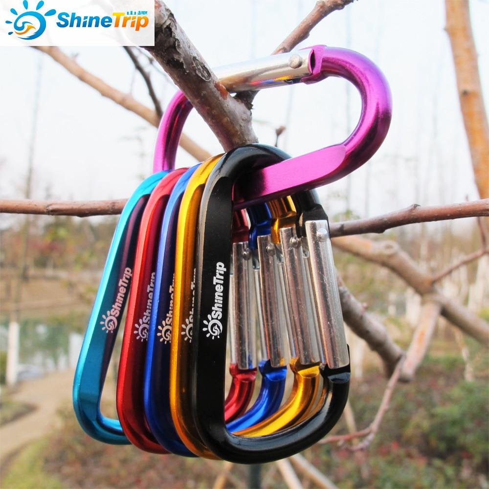 חיצוני טיפוס אלומיניום סגסוגת צורת D אבזם Carabiner Survial מפתח שרשרת הוק לטפס קליפ תרמיל אבזם Keychain 1 pc