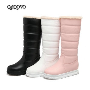 2019 Winter Mid-Calf Boots Women Flat Heel Knee High Boots Winter Plus Warm Snow Boots Slip On Ladies Shoes White Black Pink