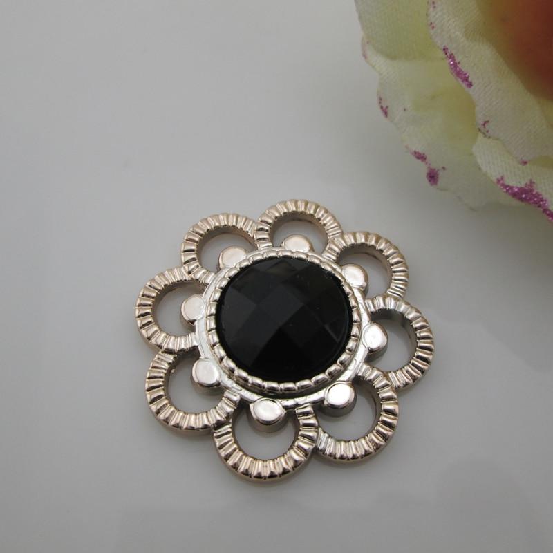 50pcs Flatback Flower Black Acrylic Rhinestone Buckle