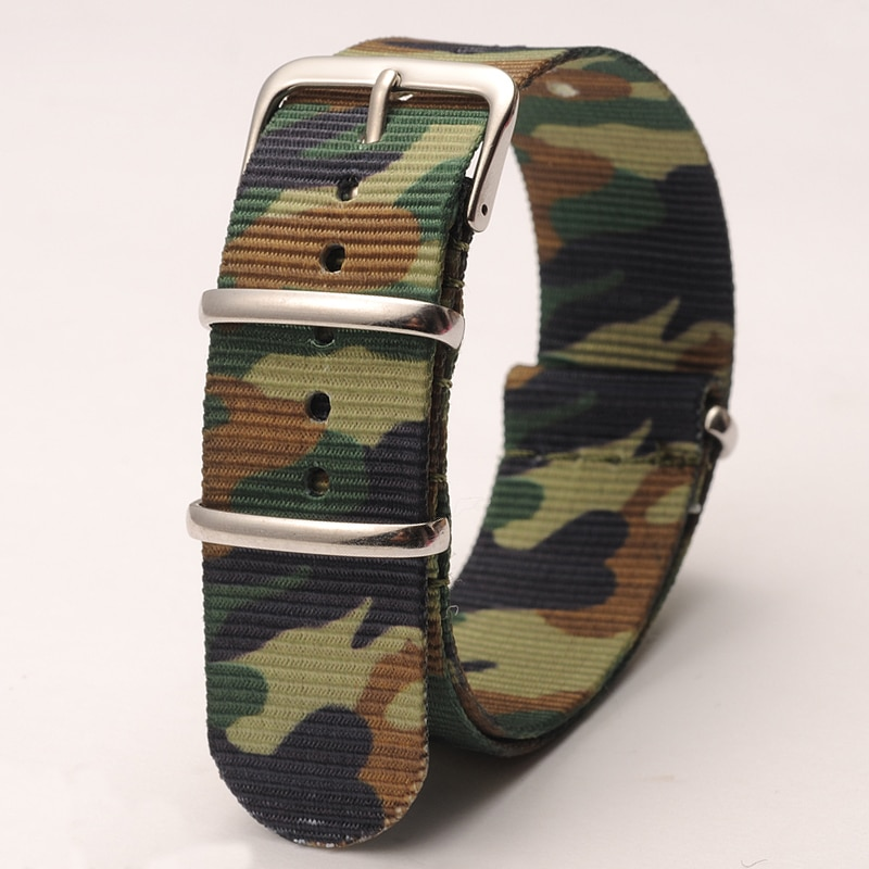 Watch Accessories Nylon Canvas Strap Camouflage Field Colors Outdoors Military Style 22mm