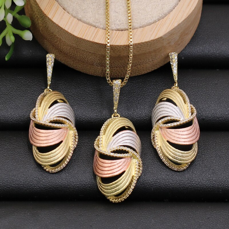 Juego de joyería Lanyika de lujo artístico con forma de huevo, Collar chapado en arena con pendientes para la boda, los mejores regalos populares