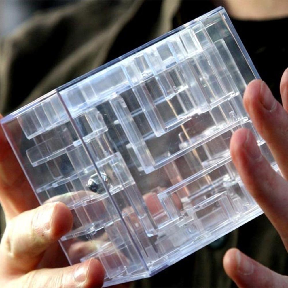 Juego de rompecabezas de laberinto para dinero 3D, cubo mágico transparente para banco de monedas infantil, caja de juguete para juego educacional