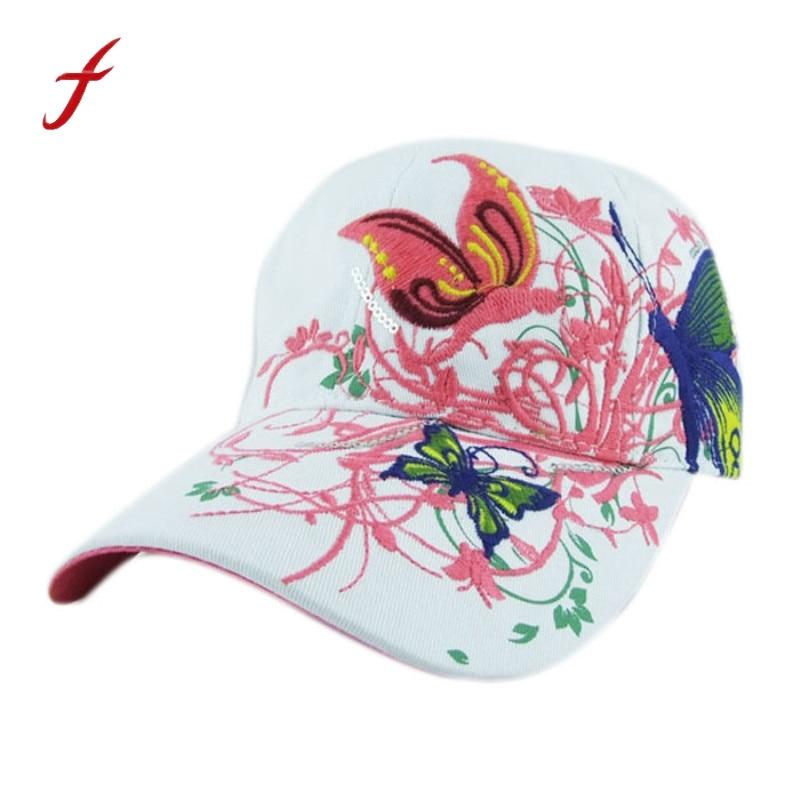 Mujeres mariposas flor bordado gorras mujeres sombreros para el sol para niña Casual Snapback gorras mujeres gorra de béisbol