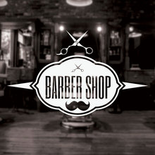 Autocollant Mural pour Salon de coiffeur   Panneau de barbier, autocollant Mural pour décoration en fenêtre, affiches moustache, ciseaux amovible Mural 3W17